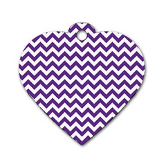 Purple And White Zigzag Pattern Dog Tag Heart (one Sided)