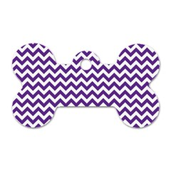 Purple And White Zigzag Pattern Dog Tag Bone (Two Sided)