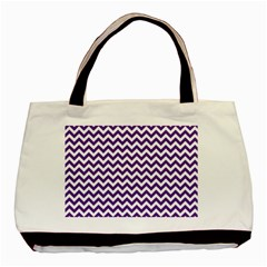 Purple And White Zigzag Pattern Twin Sided Black Tote Bag