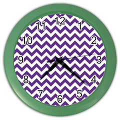 Purple And White Zigzag Pattern Wall Clock (Color)