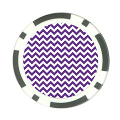 Purple And White Zigzag Pattern Poker Chip
