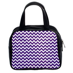 Purple And White Zigzag Pattern Classic Handbag (two Sides)