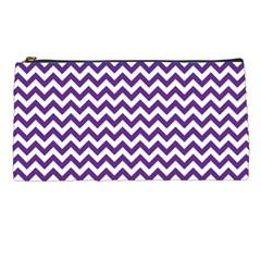 Purple And White Zigzag Pattern Pencil Case