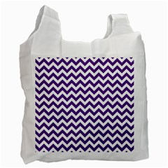 Purple And White Zigzag Pattern White Reusable Bag (one Side)