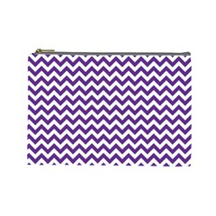 Purple And White Zigzag Pattern Cosmetic Bag (large)