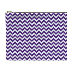 Purple And White Zigzag Pattern Cosmetic Bag (XL)