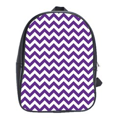 Purple And White Zigzag Pattern School Bag (Large)