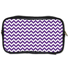 Purple And White Zigzag Pattern Travel Toiletry Bag (Two Sides)
