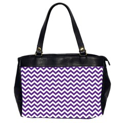 Purple And White Zigzag Pattern Oversize Office Handbag (Two Sides)