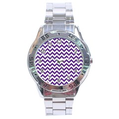 Purple And White Zigzag Pattern Stainless Steel Watch