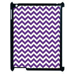 Purple And White Zigzag Pattern Apple iPad 2 Case (Black)