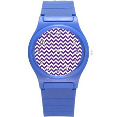 Purple And White Zigzag Pattern Plastic Sport Watch (Small)