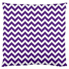Purple And White Zigzag Pattern Large Cushion Case (Two Sided)