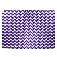 Purple And White Zigzag Pattern Cosmetic Bag (xxl)