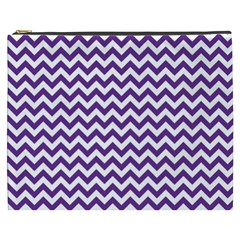 Purple And White Zigzag Pattern Cosmetic Bag (xxxl)
