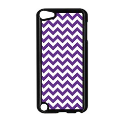 Purple And White Zigzag Pattern Apple iPod Touch 5 Case (Black)