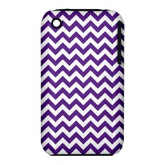 Purple And White Zigzag Pattern Apple Iphone 3g/3gs Hardshell Case (pc+silicone)