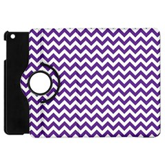 Purple And White Zigzag Pattern Apple iPad Mini Flip 360 Case
