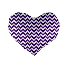 Purple And White Zigzag Pattern 16  Premium Heart Shape Cushion