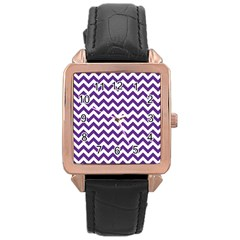 Purple And White Zigzag Pattern Rose Gold Leather Watch