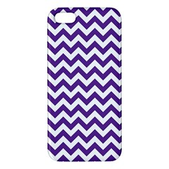 Purple And White Zigzag Pattern Apple iPhone 5 Premium Hardshell Case