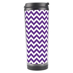 Purple And White Zigzag Pattern Travel Tumbler