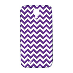 Purple And White Zigzag Pattern Samsung Galaxy S4 I9500/I9505  Hardshell Back Case