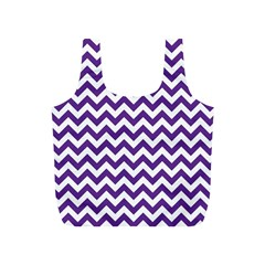 Purple And White Zigzag Pattern Reusable Bag (S)