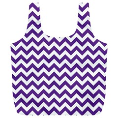 Purple And White Zigzag Pattern Reusable Bag (XL)