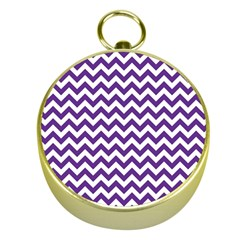 Purple And White Zigzag Pattern Gold Compass