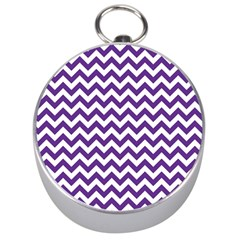 Purple And White Zigzag Pattern Silver Compass