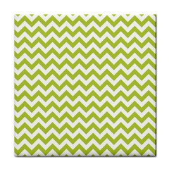 Spring Green And White Zigzag Pattern Ceramic Tile