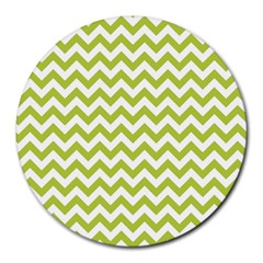 Spring Green And White Zigzag Pattern 8  Mouse Pad (round)