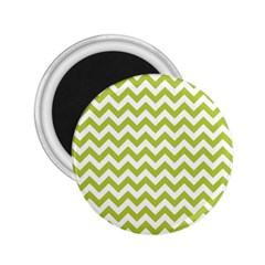Spring Green And White Zigzag Pattern 2.25  Button Magnet