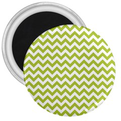 Spring Green And White Zigzag Pattern 3  Button Magnet