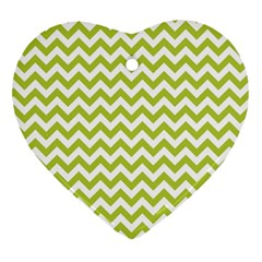 Spring Green And White Zigzag Pattern Heart Ornament