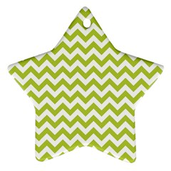 Spring Green And White Zigzag Pattern Star Ornament