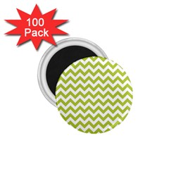 Spring Green And White Zigzag Pattern 1.75  Button Magnet (100 pack)