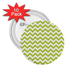 Spring Green And White Zigzag Pattern 2.25  Button (10 pack)