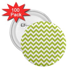 Spring Green And White Zigzag Pattern 2.25  Button (100 pack)