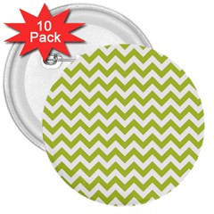 Spring Green And White Zigzag Pattern 3  Button (10 Pack)