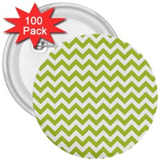Spring Green And White Zigzag Pattern 3  Button (100 pack)