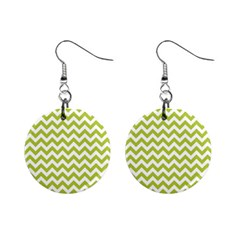 Spring Green And White Zigzag Pattern Mini Button Earrings