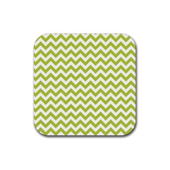 Spring Green And White Zigzag Pattern Drink Coasters 4 Pack (Square)