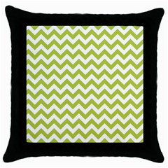 Spring Green And White Zigzag Pattern Black Throw Pillow Case
