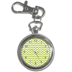 Spring Green And White Zigzag Pattern Key Chain Watch