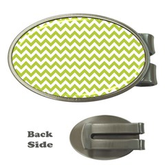Spring Green And White Zigzag Pattern Money Clip (Oval)