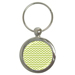 Spring Green And White Zigzag Pattern Key Chain (Round)