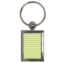 Spring Green And White Zigzag Pattern Key Chain (Rectangle)