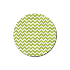 Spring Green And White Zigzag Pattern Drink Coaster (round)